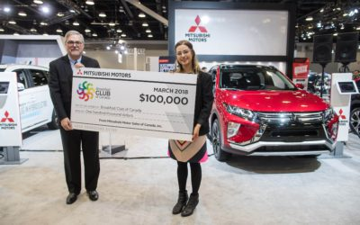 Tony Laframboise, president and CEO, Mitsubishi Motor Sales of Canada presents a $100,000 donation to Breakfast Club of Canada